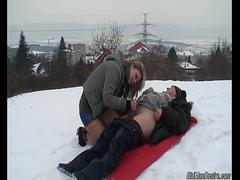 Sexy chick rides grandpas cock on the snow