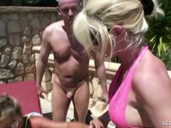 German Mom and Aunt Fuck with Young Guy in FFM Threesome