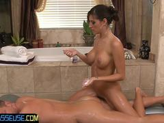 Amazing massage babe grinding in the bathroom