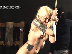 Blonde girl demolished with a whip