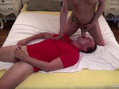 Huge Cock Shemale in Blowjob Switch with German Young Guy