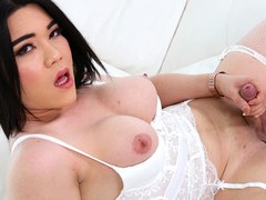 ladyboy jerking her dick asian