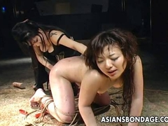 Captivating Asian mistress whips a tied up slut