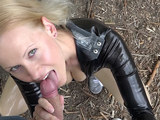 Public latex fan fuck outdoors