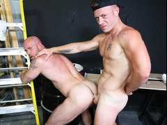 Mature gays unloading at work