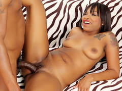 Ebony Hoochie Nikki Ford Is Boned by a Big Black Cock
